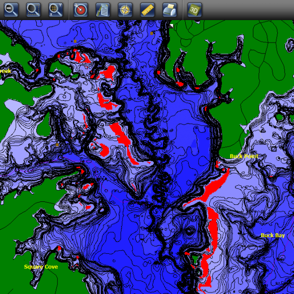 Contour elite fishing software find more fish for Fishing sam rayburn